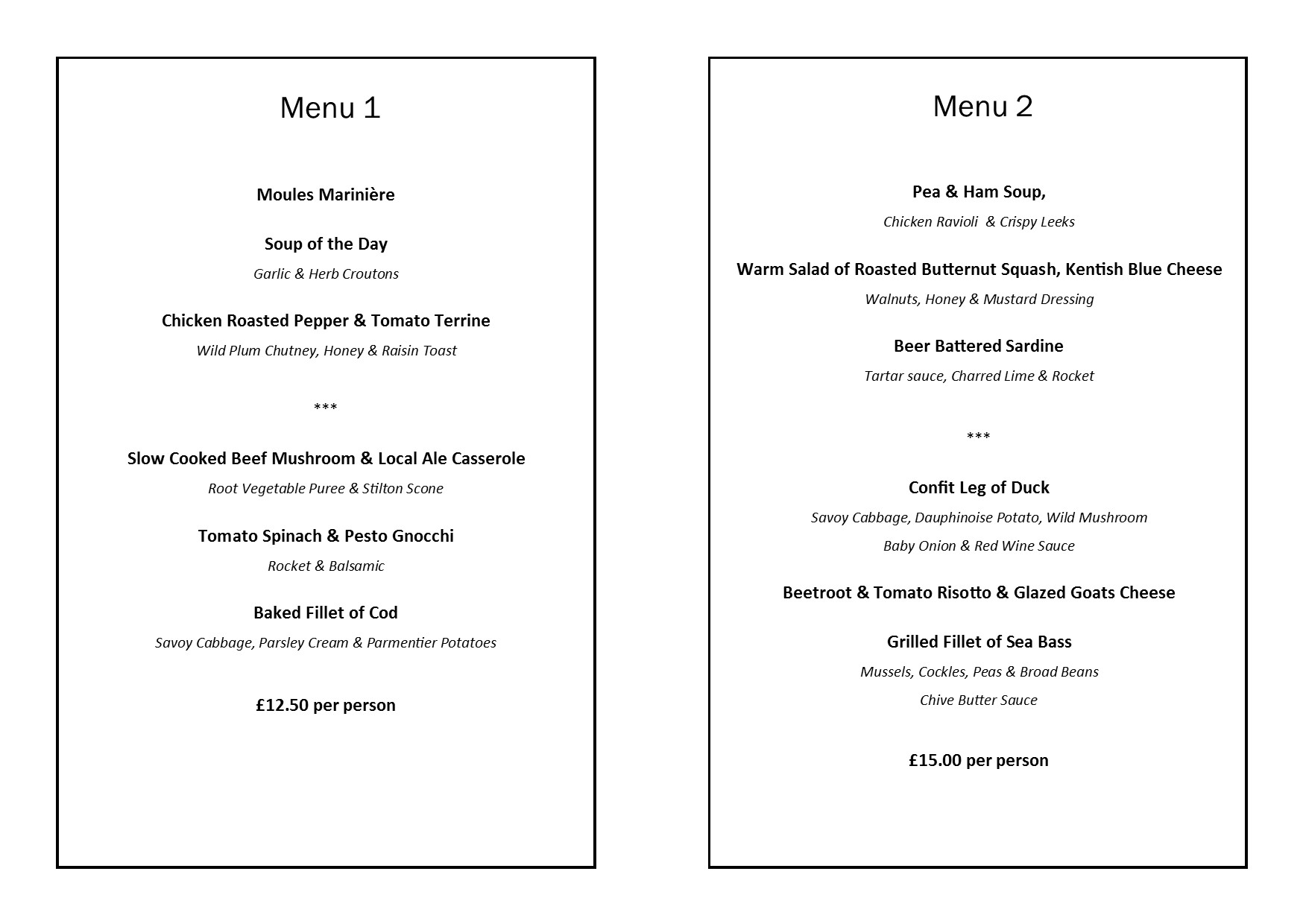 Charity Lunch menus