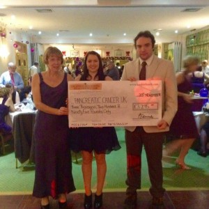 Charity donation to pancreatic cancer research