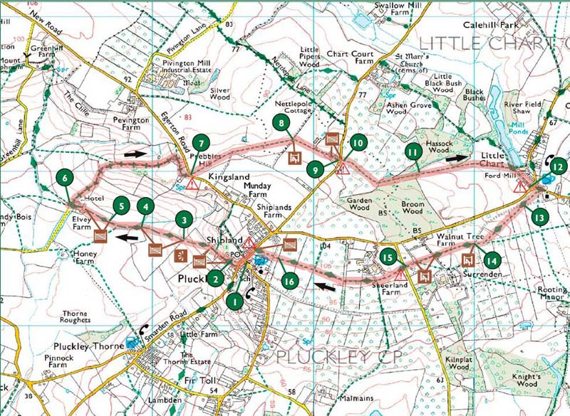 Map of the Pluckley Walk
