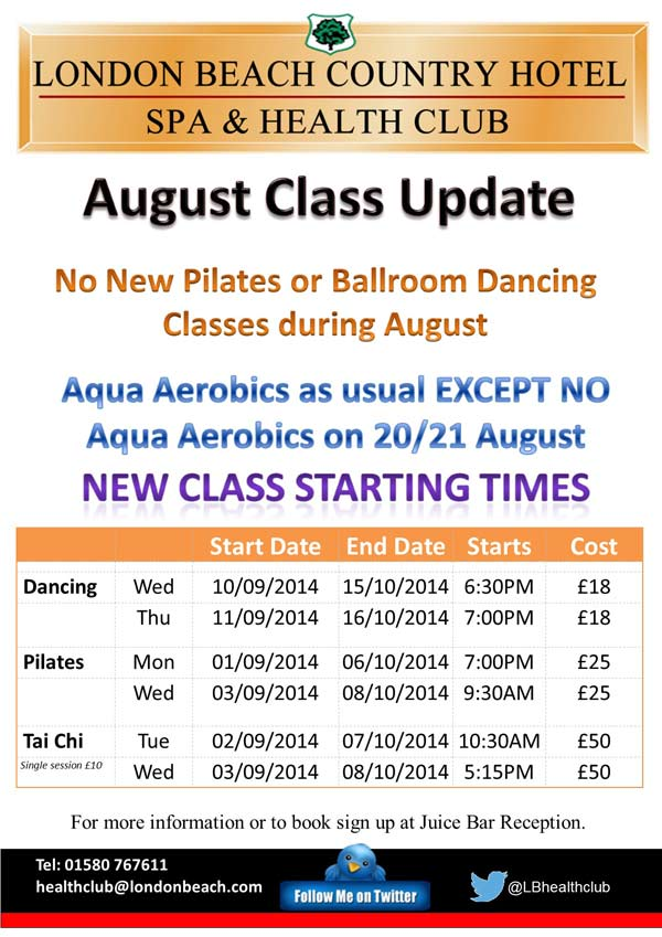 Timetable for classes