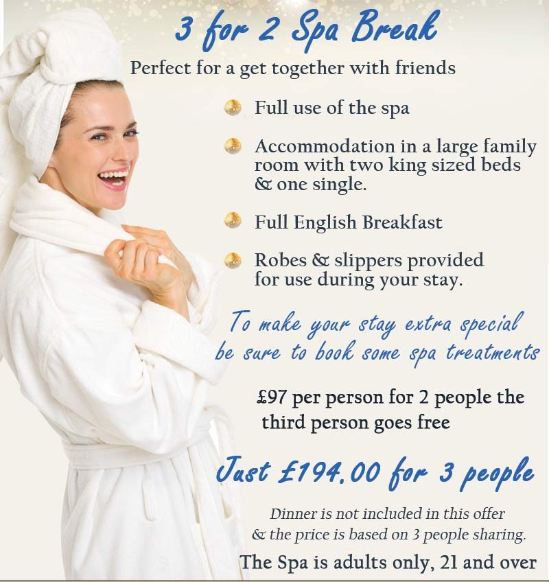 3 for 2 Spa Break offer third person free